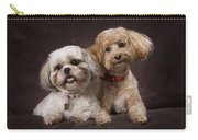 A Shihtzu And A Poodle On A Brown Carry-all Pouch