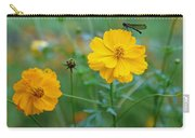 A Small Dragon Fly Sitting On A Yellow Flower Carry-all Pouch