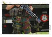 A Soldier Of An Infantry Unit Carry-all Pouch by Luc De Jaeger