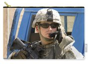 A Soldier Talking Via Radio Carry-all Pouch by Stocktrek Images