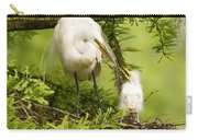 A Tender Moment - Great Egret And Chick Carry-all Pouch