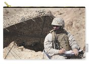 A U.s. Marine Communicates With Close Carry-all Pouch