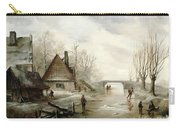 A Winter Landscape With Figures Skating Carry-all Pouch