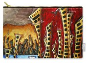 Abstract Art Contemporary Coastal Cityscape 3 Of 3 Capturing The Heart Of The City II By Madart Carry-all Pouch
