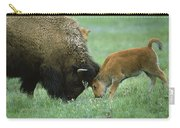 American Bison Cow And Calf Carry-all Pouch