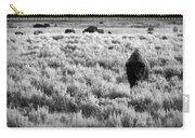 American Bison In Black And White Carry-all Pouch by Sebastian Musial