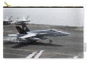 An Fa-18a+ Hornet Lands Aboard Carry-all Pouch