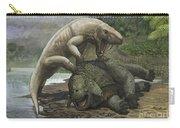 An Inostrancevia Attacks A Scutosaurus Carry-all Pouch