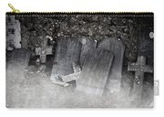 An Old Cemetery With Grave Stones And Fog Carry-all Pouch