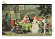 An Ornamental Garden With Elegant Figures Seated Around A Card Table Carry-all Pouch