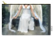 Angel On Stone Bench Looking Up Into The Light Carry-all Pouch