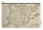 Antique Map Of Spain Carry-all Pouch