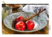 Apples In A Silver Bowl Carry-all Pouch by Susan Savad