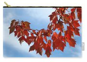 Autumn Leaves Tree Red Orange Art Prints Blue Sky White Clouds Carry-all Pouch