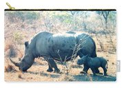 Baby Rhinoceros And Mother Carry-all Pouch