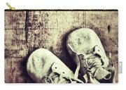 Baby Shoes On Wood Carry-all Pouch