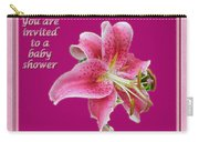 Baby Shower Invitation - Pink Stargazer Lily Carry-all Pouch