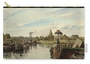 Barge On The Seine At Bougival Carry-all Pouch by Camille Pissarro