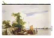 Barges On A River Carry-all Pouch by Richard Parkes Bonington