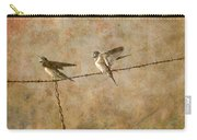 Barn Swallows On Barbed Wire Fence Carry-all Pouch