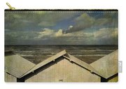 Beach Huts Under A Stormy Sky. Vintage-look. Normandy. France Carry-all Pouch