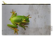 Beautiful American Green Tree Frog On Grunge Background  Carry-all Pouch