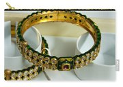 Beautiful Green And Purple Covered Gold Bangles With Semi-precious Stones Inlaid Carry-all Pouch