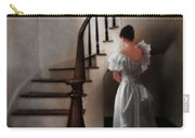 Beautiful Young Woman Standing In Gown By Stairs Carry-all Pouch