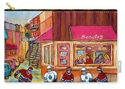 Beauty's Restaurant-montreal Street Scene Painting-hockey Game-hockeyart Carry-all Pouch