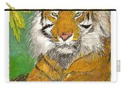 Bengal Tiger With Green Eyes Carry-all Pouch by Jack Pumphrey