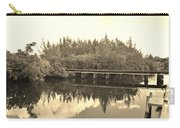 Big Sky And Dock On The River In Sepia Carry-all Pouch