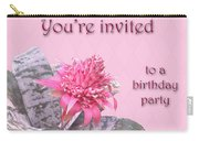 Birthday Party Invitation - Pink Flowering Bromeliad Carry-all Pouch