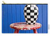 Blach And White Vase On Stool Against Blue Wall Carry-all Pouch