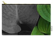 Black And White And Green Leaves Carry-all Pouch