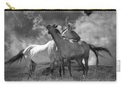 Black And White Photograph Of Montana Horses Carry-all Pouch