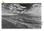 Black And White Shoreline Of Lake Carry-all Pouch