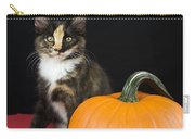 Black Calico Kitten With Pumpkin Carry-all Pouch