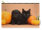 Black Kitten & Puppy With Pumpkins Carry-all Pouch