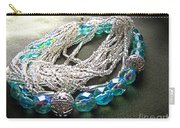 Blue And Silver Bead Bracelet Carry-all Pouch