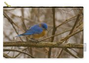 Blue Bird Perched On Willow Carry-all Pouch