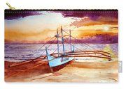 Blue Boat On The Shore Carry-all Pouch