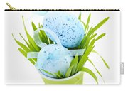 Blue Easter Eggs And Green Grass Carry-all Pouch by Elena Elisseeva