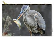 Blue Heron With Fish Carry-all Pouch