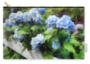 Blue Hydrangea On White Fence Carry-all Pouch