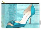 Blue Satin Ball Gown Pump Carry-all Pouch