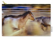 Blurred View Of Horses Running Through Carry-all Pouch