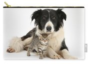 Border Collie And Kitten Carry-all Pouch