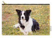 Border Collie In Field Of Yellow Flowers Carry-all Pouch
