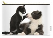 Border Collie Pup And Tuxedo Kitten Carry-all Pouch