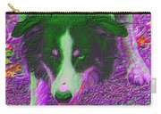 Border Collie Stare In Colors Carry-all Pouch by Smilin Eyes  Treasures